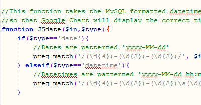 Convert MySQL date to a Javascript date that is compatible with Google Chart