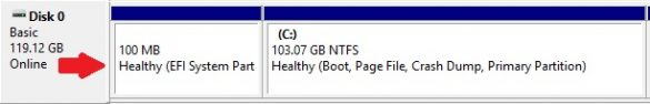 EFI system partition (100MB)