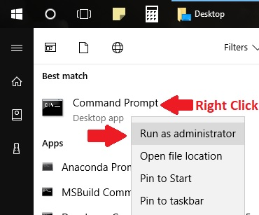 right click command prompt and run as administrator